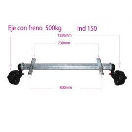 500kg Ind 150 braked axle